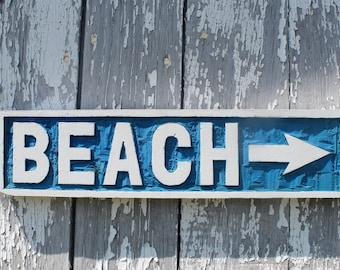 Wooden BEACH sign hand carved nautical wall art coastal home decor beach arrow sign