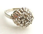 Vintage 1950s sterling silver and paste dome ring bright cut