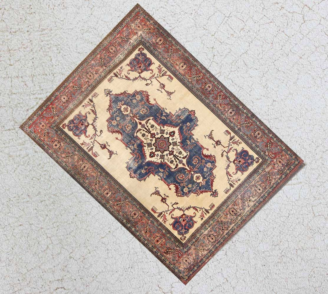 Miniature Aged And Worn Antique Style Rug For Dollhouse Or