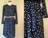 FREE USA shipping! Vintage Dress / 80s Polka Dot Ruffle Day Dress / Large