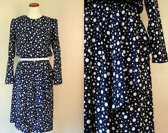 Vintage Dress / 80s Polka Dot Ruffle Day Dress / Large / FREE USA shipping!