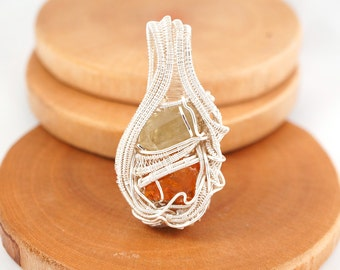 Wire Wrapped Jewelry - Amber and Apatite Crystal Gemstone Wirewrap Pendant Necklace //FREE SHIPPING//