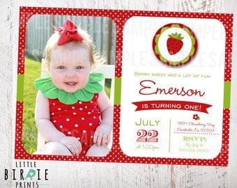 STRAWBERRY INVITATION First Birthday Party Printable STRAWBERRY First Birthday Strawberry Party Printable