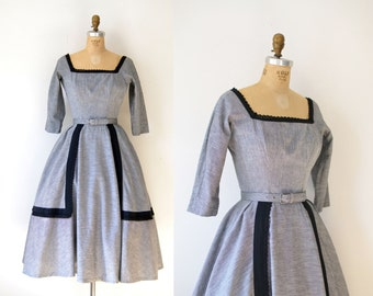 1950s Suzy Perette Dress / 50s Black & Gray Full Skirt Dress