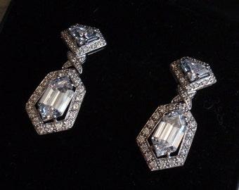 CZ Sterling Earrings Silver Esposito Diamonique Bridal Wedding Glamorous Crystal Drops Pierced Post QVC Vintage