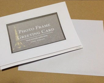Set of 8 Cards Photo Frame Greeting Cards - One Package of 8 Paper Folded Cards w/ Envelopes - Blank inside