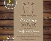 Rustic Couples Wedding Shower Invitation - Kraft Paper and Arrows Bridal Shower - Neutral Wedding Shower Invite #1054