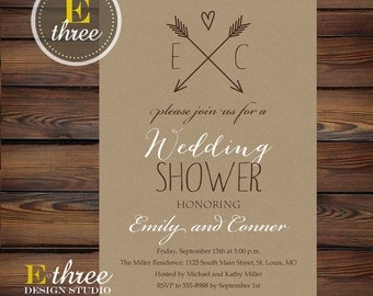 Rustic Couples Wedding Shower Invitation - Kraft Paper and Arrows Bridal Shower - Neutral Wedding Shower Invite #1054