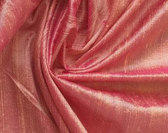 Peach Pink 100 Percent Pure Silk Dupioni Fabric Decorative Silk Fabric Wholesale Silk Fabric Raw Silk Fabric Indian Silk Fabric By The Yard