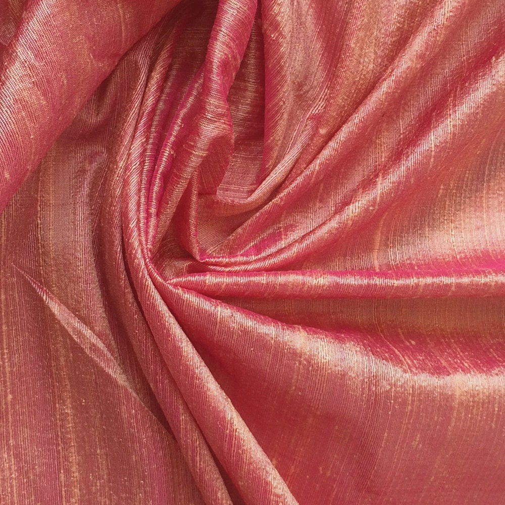 Peach Pink 100 Percent Pure Silk Dupioni Fabric Decorative