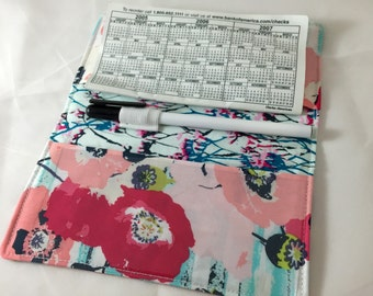 Duplicate Checkbook Cover Register Check Book Cover - Skopelos Paparounes in Pastel