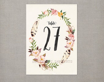 Table Numbers / Wedding Table Numbers / Table Numbers / Table Number Cards - tn0009