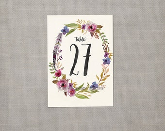 Table Numbers / Wedding Table Numbers / Table Numbers / Table Number Cards - tn0010