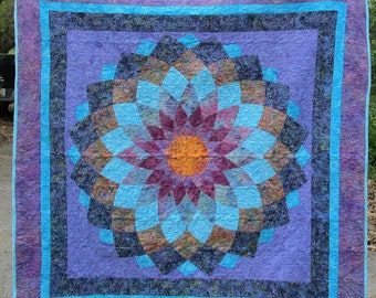 "Giant Dahlia Handmade Quilt  62"" X 62""  Wal Hanging or lap Quilt"