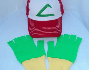 Ash Ketchum Trainer FABRIC Hat and Gloves set  Halloween costume Pokemon Choose your Size