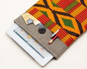 60% OFF Winter SALE Dark Linen iPad Case with African Kente style print pocket. Padded Cover for iPad 1 2 3 4. iPad Sleeve Bag.