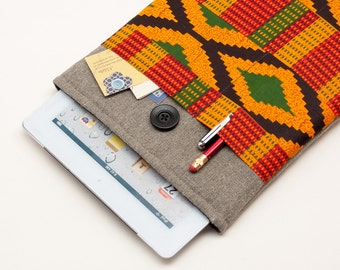 50% OFF SALE Dark Linen iPad Case with African Kente style print pocket. Padded Cover for iPad 1 2 3 4. iPad Sleeve Bag.