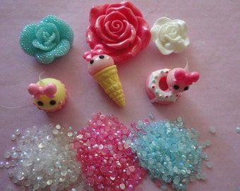 Kawaii decoden cabochon kit with teardrop sweets C 85--USA seller