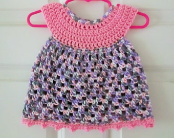 Crochet baby dress, 0-3 months, sweetheart dress