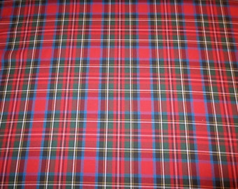 Classic Red with Blue & Hunter Green Tartan Plaid Fine Twill Cotton Shirting Fabric--One Yard