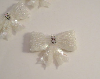 Tiny Off White Beaded Bow Applique with Rhinestones--One Piece