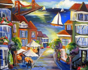 San Francisco City Landscape Original Painting 16 x 20  Art by Elaine Cory