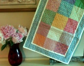 "Quilted Table Runner ~ Reversible ~ 36"" x 18"" ~ Machine Quilted ~ Cottage charm ~ Quilted Dresser Mat ~ Shabby Chic runner ~ Spring Runner"