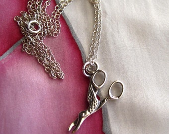 Sterling Silver Bird Scissor Charm Necklace