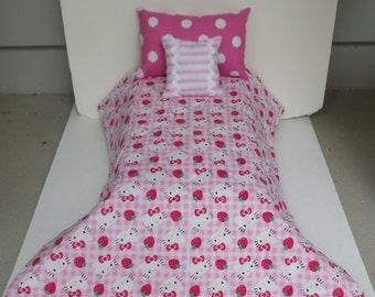 Doll Bedding Pink Hello Kitty Comforter Set Handmade  For 18 Inch Dolls Like American Girl