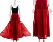 Beautiful Vintage Sheer Rust Twirl Skirt Sheer Full Skirt Circle Skirt High Waist Stunning Drape Bohemian Goddess Skirt XS S