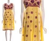 Vintage Pale Yellow Beaded Magenta Floral Retro Dress Ethnic Retro Heavily Beaded Dress Small Medium