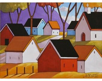 "Art Print Town by Horvath 5""x7"" Folk Art Giclee, Purple Mountains Village Roadway, Colorful Cottage Landscape Archival Artwork Reproduction"