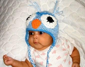 Baby Owl Hat, Crochet, Ear Flap, Boy, Newborn, Children, Blue,