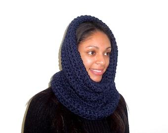 Neckwarmer, Cowl, Hooded Scarf, Crochet, Oversized, Infinity Scarf, Women, Men,