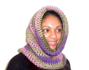Crochet Neckwarmer, Cowl, Hooded Scarf, Women, Men, Oversized Scarf, infinity Scarf