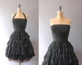 Vintage 1950s Black Dress / 50s Tiered Eyelet Dress