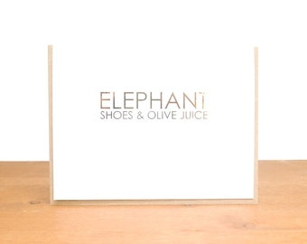 gold foil greeting card: love card, engagement, anniversary, wedding, marriage, elephant shoes, olive juice