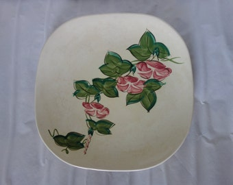 Red Wing hand painted Pink Morning Glory dinner plate with detachable metal carry handle