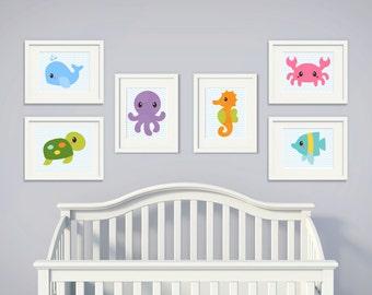 Sea Creatures | Set of 6 | Nursery Art | Wall Art | Nursery Decor | 5x7 | 8x10 | 11x14