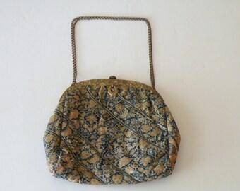 On Sale Antique French Tapestry brass frame purse handbag
