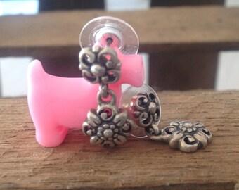 Sterling Silver Drop Flower Pierced Earrings