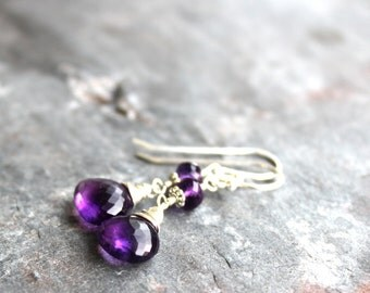 Amethyst Earrings Dangle Sterling Silver Purple Briolette Earrings February Birthstone
