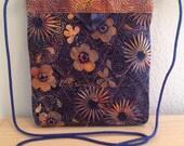 "Navy and Dusty Coral Floral Batik Quilted Snap Bag Purse Handbag Handmade 7-1/2"" x 8-1/2"""