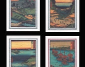 4 Blank Note Cards of Landscapes by Hiroshige gcls019