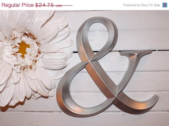 SUMMER SALE Ampersand Sign / Silver / Large Wall By