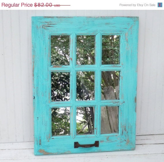 Summer sale window mirror turquoise mirror by for Window mirrors for sale