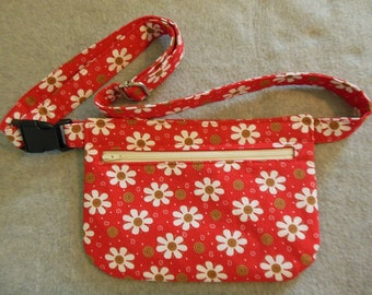 Hip Bag - Red Floral with Swirls