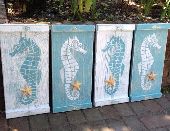 Wooden Beach Wall Decor : Seahorse sign wall art wood wooden beach house decor one