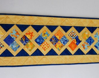 Quilted Table Runner, Quilted Table Topper, Patchwork Runner, Birds and Butterflies, Table Quilt