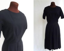Vintage 60's Little Black Dress Crepe Classic  Size Small Waist Medium to Large Bust S / M